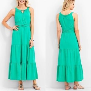 NWT Talbots Petite Tiered Maxi Dress Teal Green